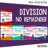 No Remainder, Long Division Worksheets 5th Grade Math Review Packet