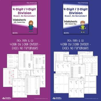 No Remainder, Long Division Worksheets 5th Grade Math Review Packet