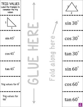 Exact Trig Values (Foldable)