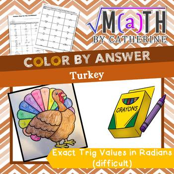 Thanksgiving Math: Turkey Color by Answer Exact Trig Values in Radians- Hard