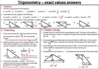 Exact trig values - mastery worksheet