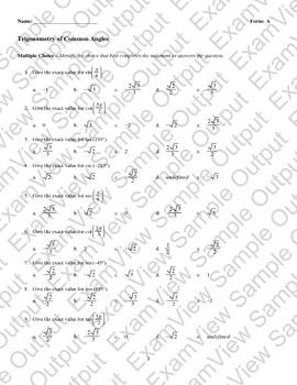 Exact trigonometric values of common angles v2
