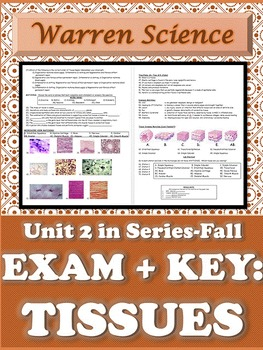 Exam 2-Histology (Tissue) + KEY-Unit 2 in Series (Fall)