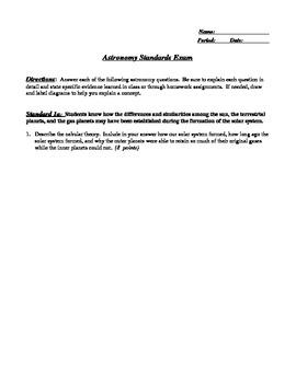 Exam:  California State Standards Based Written Astronomy Exam