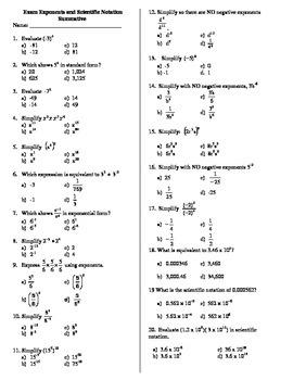 Exam Exponents & Scientific Notation