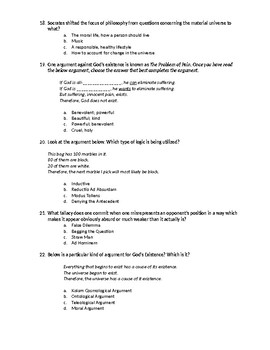 Exam Questions: Introduction to Philosophy