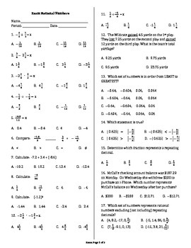 Exam Rational Numbers & Operations