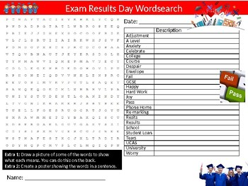 Exam Results Day Wordsearch Sheet Starter Activity Keywords Examinations Tests