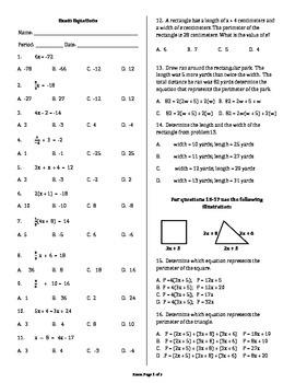Exam Solving Multi Step Equations