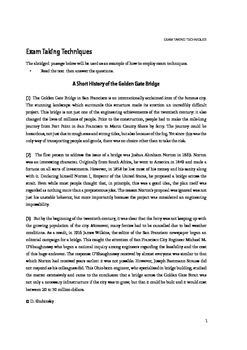 Exam Taking Techniques & Practice Exam for Reading Comprehension