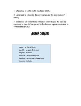 Exam: Topic: Hispanos en EE.UU.