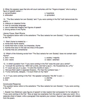 Exam View Question Bank for Emily Dickinson Poems