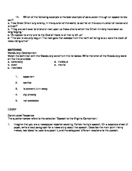 Exam View Question Bank for Patrick Henry Speech