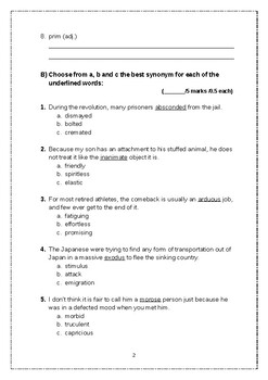 Exam Vocabulary - Vocabulary Workshop D - Units 4:7