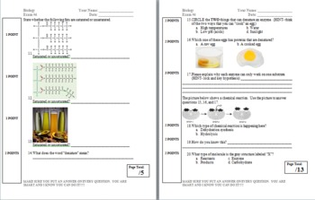 Exam and Review- Organic Molecules and Enzymes
