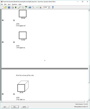 ExamView Question Bank for Evaluating Powers, Squares, and Cubes