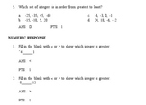 ExamView bank Comparing and Ordering Integers