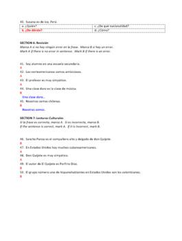 Examen Capítulo 1 ¡Así se dice! 1 Versión Scantron