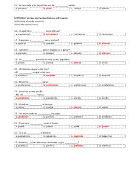 Examen Capítulo 5 ¡Así se dice! 1 Versión Scantron