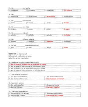 Examen Capítulo 7A Realidades 2