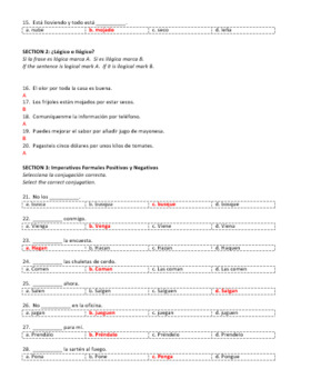 Examen Capítulo 7B Realidades 2