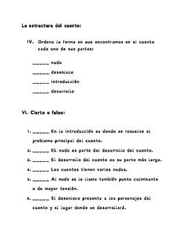 Spanish Test / Examen Español 4to : Lexema, morfema y la estructura del cuento