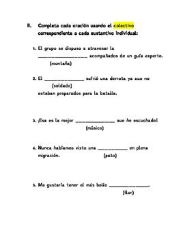 Spanish Test / Examen Español-El sustantivo, los dos puntos y puntos suspensivos