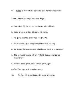 Examen Español: Sujeto y Predicado, Núcleo del S y del P y Tilde Diacrítica