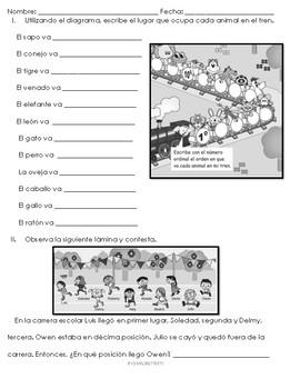 Examen Números ordinales, pares e impares