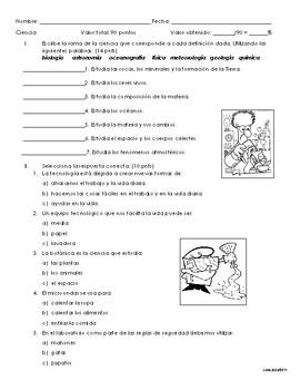 Examen: Ramas de la ciencia, instrumentos de laboratorio y método científico