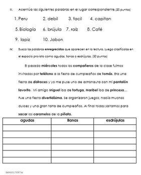 Examen Sílaba tónica , acentuación y clasificar en agudas, llanas y esdrújulas