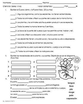 Examen de Caracteristicas de los seres vivos y su relacion con el ambiente