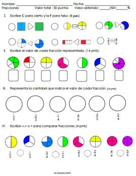 Examen de comparar Fracciones, equivalencias, sumas