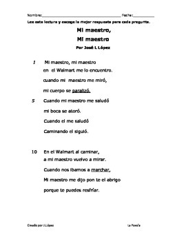Examen de la poesia para segundo grado.