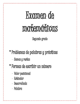 Examen de matemáticas de Segundo grado- Answer Key Included!