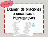 Examen de oraciones enunciativas e interrogativas