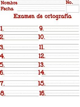 Spelling test/ Examen de ortografia