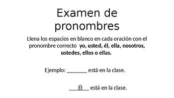 Examen de pronombres