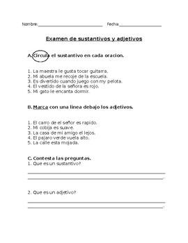 Examen de sustantivos y adjetivos