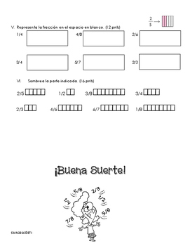 Examen números ordinales y fracciones