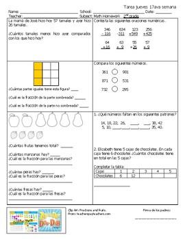 Examen o Tarea Espanol. 2nd semester Jueves 21 semanas