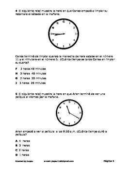 Examen para la Unidad del Tiempo (2 or 3 grado)