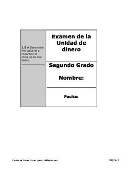 Examen para la unidad de dinero para Segundo Grado.