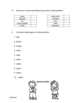 Examen sobre división silábica
