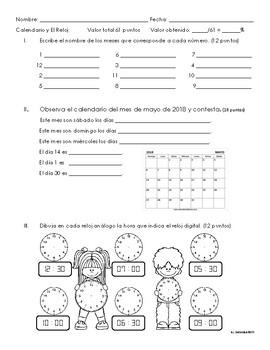 Examen sobre el calendario, días de la semana, meses del año y el reloj