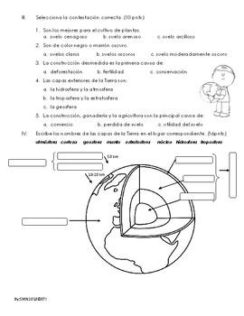 Examen sobre el suelo y las capas de la Tierra