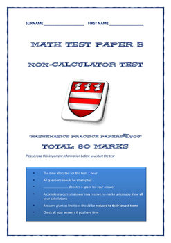 Examination Practice Paper Number 3: Grades 7 - 9