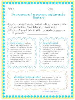 Examining Our Perspectives: A Growth Mindset Activity For High School Students