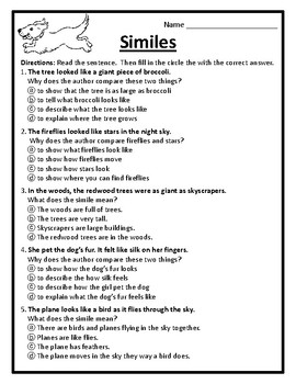 Examining Similes Worksheet Similes Practice The Meaning of Similes Activity #4