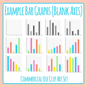 Example Bar Graphs with Blank Axis Clip Art for Commercial Use